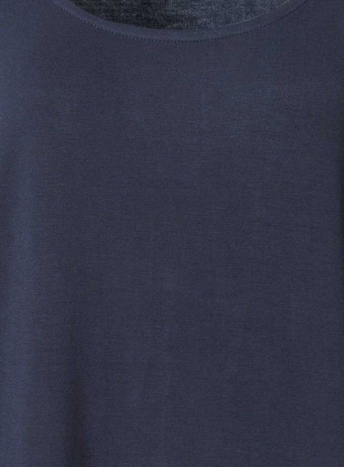 Bambus top marineblå, løs model