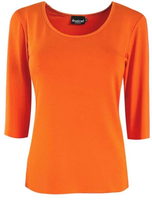 Bambus T-shirt med 3/4 ærmer orange fra Festival