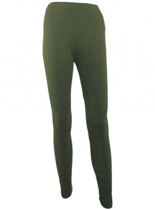 Bambus leggings str. 3XL-4XL armygrønne tights fra Festival