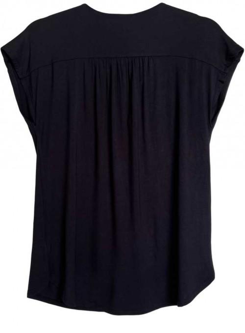 Kun XL! Bambus bluse Sort, kortærmet