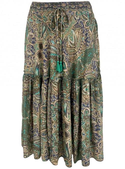 Nederdel Boho Midi grøn af sari-stof fra Black Colour
