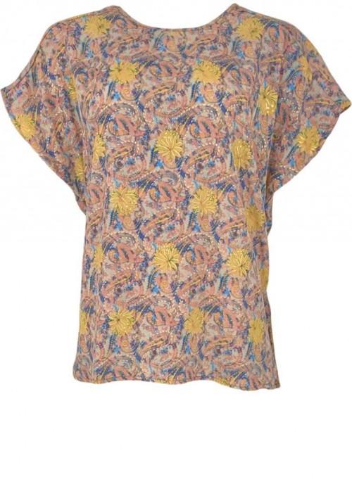 Top eller bluse af sari-stof Pastel fra Black Colour