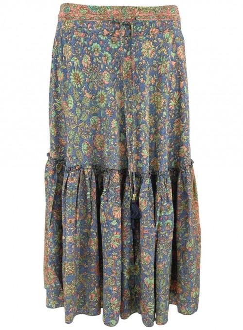 Nederdel Luna Boho Midi af sari-stof fra Black Colour