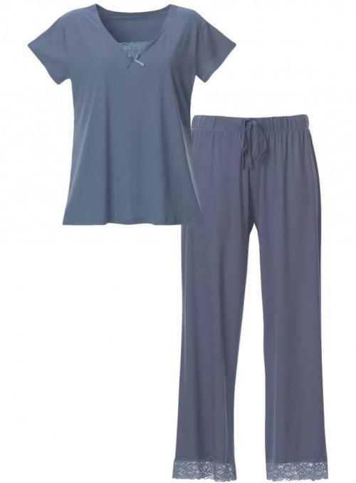 Pyjamas-sæt af ensfarvet bambus-jersey 2 dele