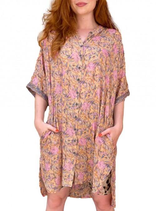 Tunika-kjole af sari-stof Pastel Peach fra Black Colour