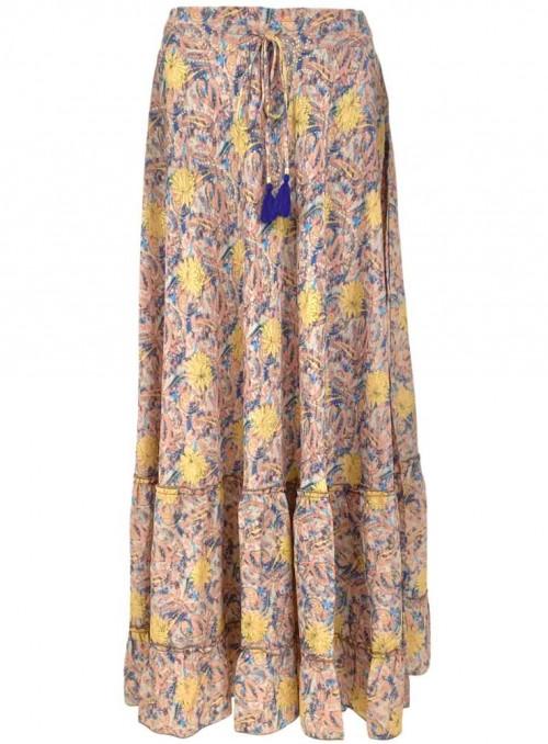 Nederdel Boho Maxi Pastel Blue af sari-stof fra Black Colour