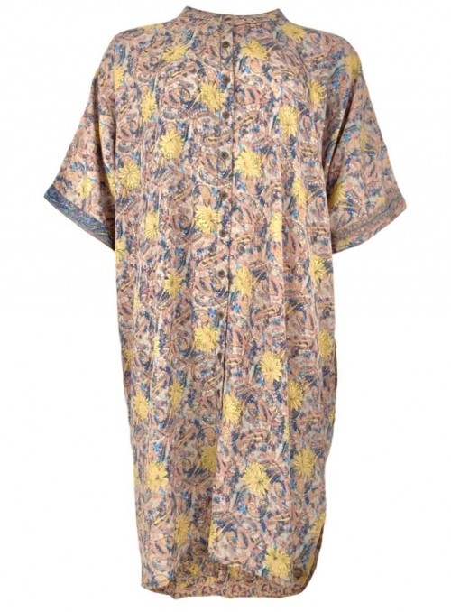 Tunika-kjole af sari-stof Pastel Blue fra Black Colour