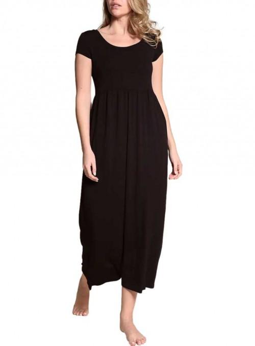 Bambus maxi-kjole med lommer Baby Doll Black