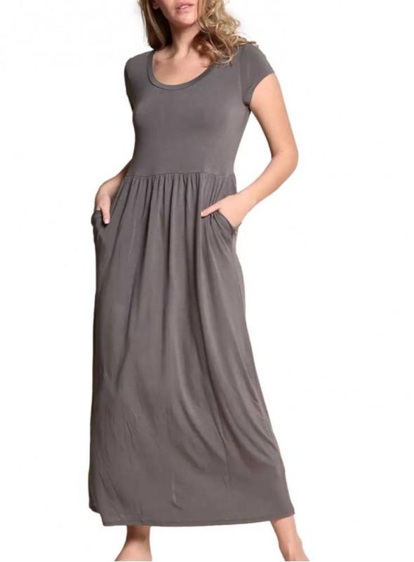 Bambus maxi-kjole med lommer Baby Doll Grey