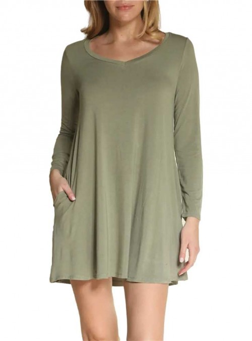 Bambus tunika-kjole langærmet V-neck Olive