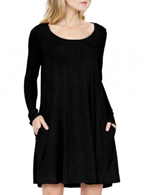 Bambus kjole-tunika langærmet Easy Dress Black