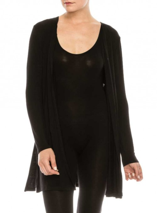 Bambus cardigan langærmet med slids Black