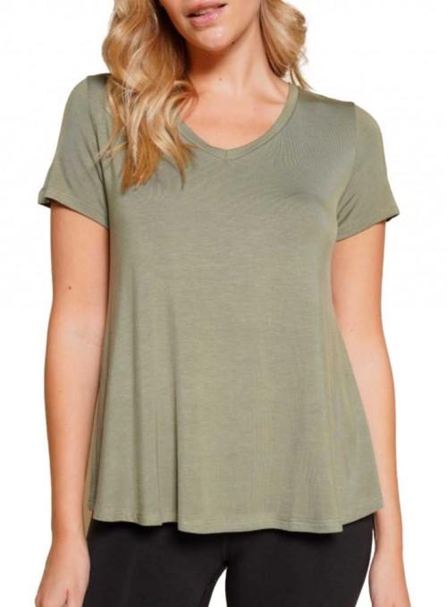 Bambus kortærmet bluse V-neck Classic Olive