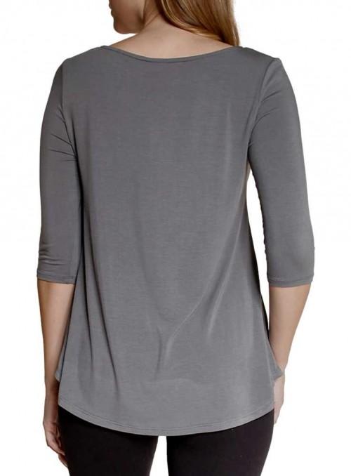 Bambus bluse med 3/4 ærmer Elbow Grey