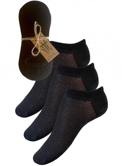 3 PAK bambus sneakers-strømper, bambusstrømper footies black fra Festival