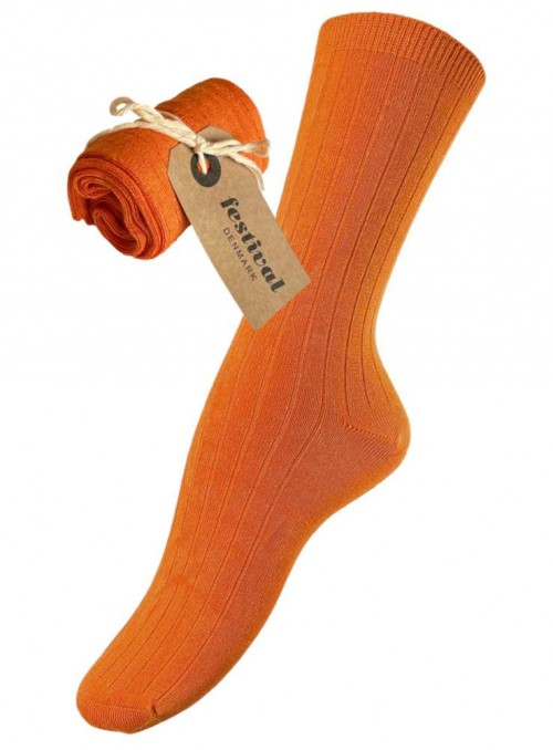 Bambus strømper ribstrikket orange fra Festival