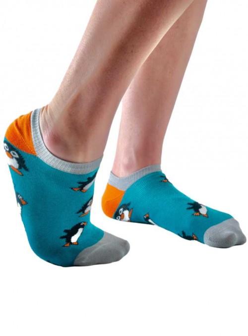 Bambus sneakers strømper dame med økologisk bomuld, Teal Penguin fra Doris & Dude