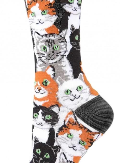 Bambusstrømper dame med katte, Multi Cat